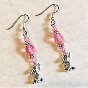 Jewelry - Easter Bunny Pink Earrings Beaded Dangle Rabbit